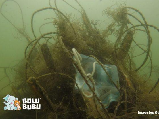 sampah apd di laut